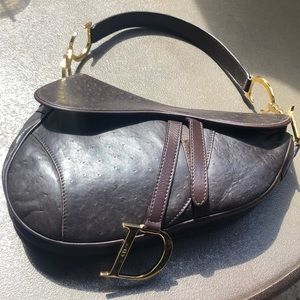 Authentic Christian Dior Saddle bag Brown Leather